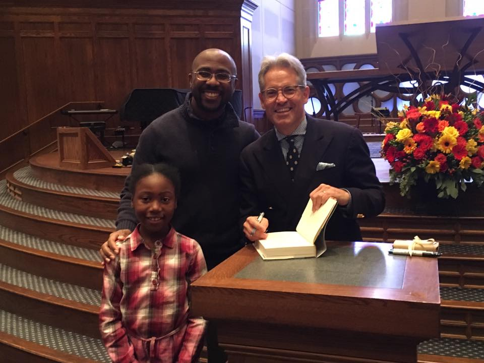 Chris Craft and Naomi Craft meeting Eric Metaxas at Church of the Apostles in Atlanta in 2017.