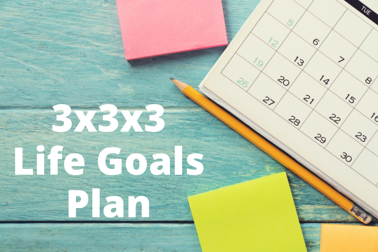 3x3x3 Life Goals Plan by a calendar and sticky notes