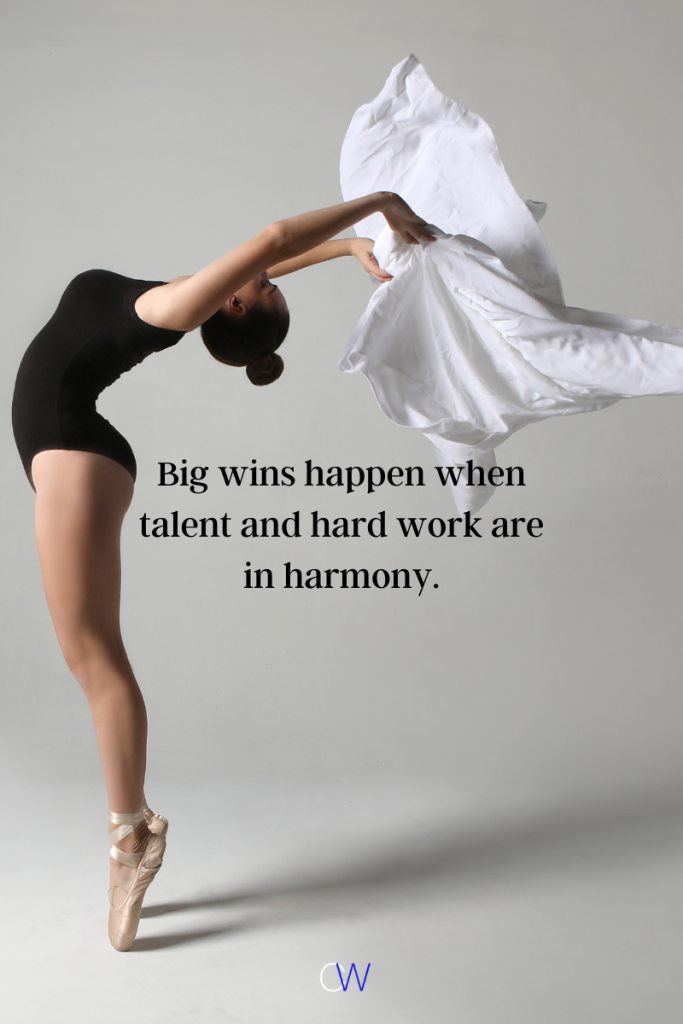 A ballerina on point showing that in talent vs skill that talent and hard work lead to success when in harmony