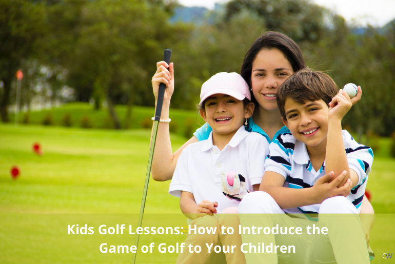 two children getting kids golf lessons