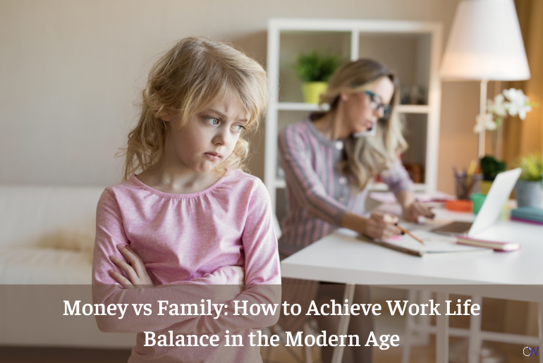 a sad daughter and a mom working on work life balance