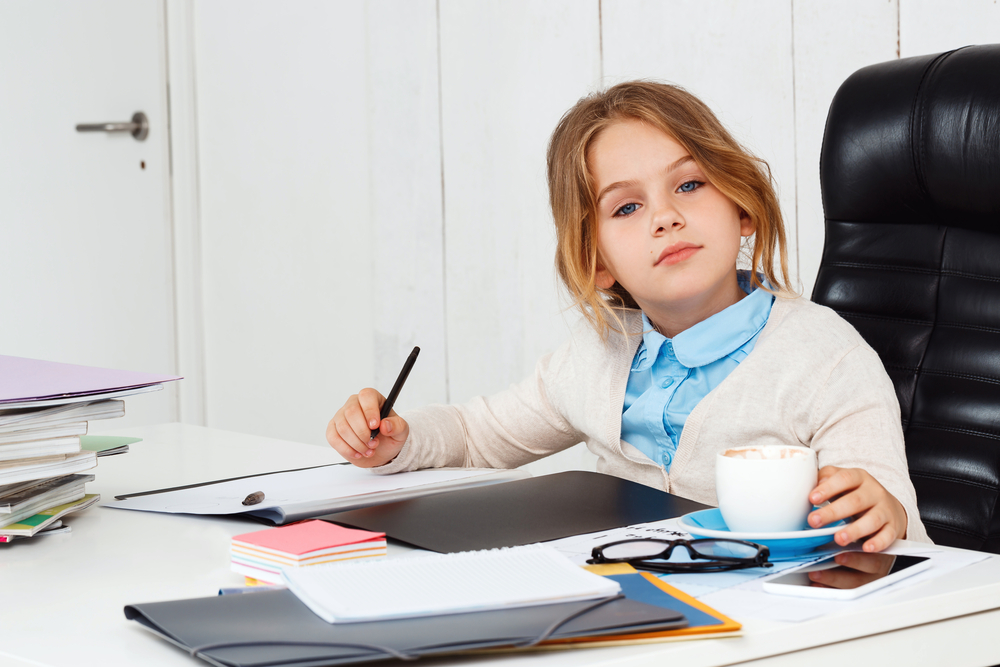 Little Girl Working at a Desk - How to Teach Children Good Work Ethic